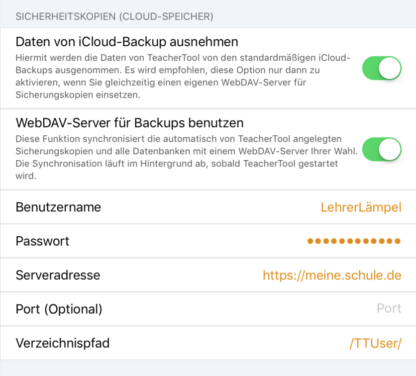 Datenbanken und Sicherheitskopien per webDAV an einen externen Server anbinden